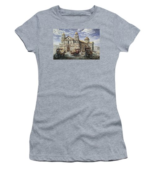 Women's T-Shirt (Junior Cut) featuring the painting Quiapo Church 1900s by Joey Agbayani