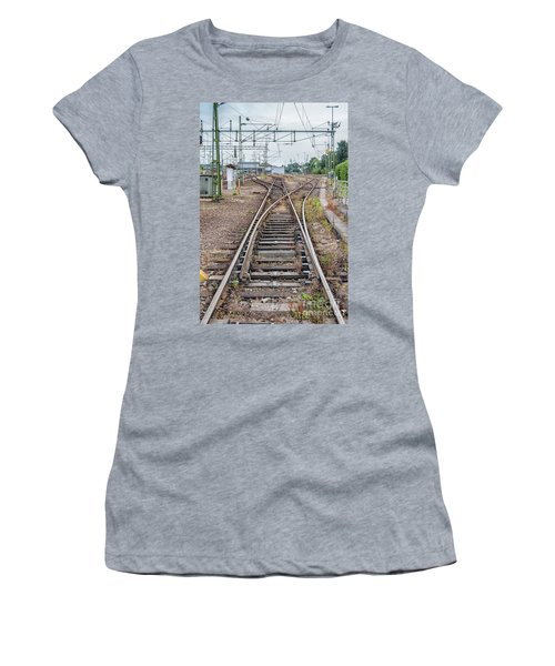 Women's T-Shirt (Junior Cut) featuring the photograph Railroad Tracks And Junctions by Antony McAulay