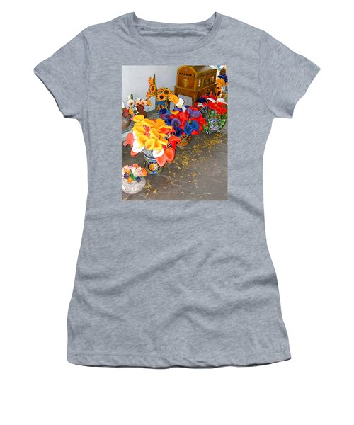Women's T-Shirt featuring the photograph Rainbow Man Colorful Flowers And Chest by Joseph R Luciano