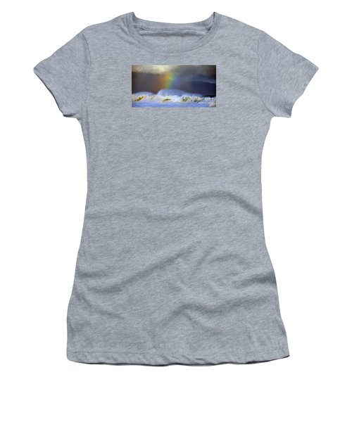 Women's T-Shirt (Junior Cut) featuring the photograph Rainbow On The Banzai Pipeline At The North Shore Of Oahu 2 To 1 Ratio by Aloha Art