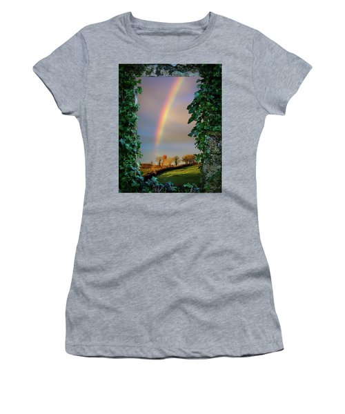 Women's T-Shirt (Athletic Fit) featuring the photograph Rainbow Over County Clare, Ireland, by James Truett