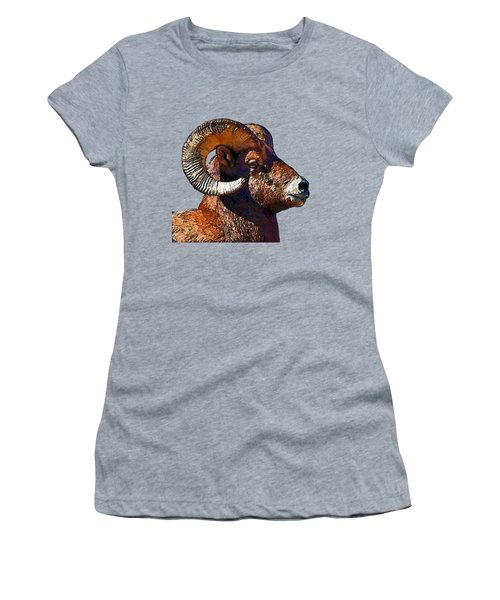 Ram Portrait - Rocky Mountain Bighorn Sheep  Women's T-Shirt (Athletic Fit)