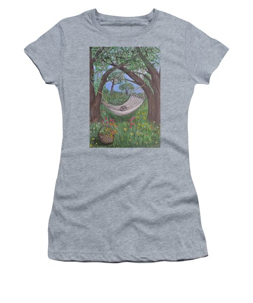 Women's T-Shirt (Junior Cut) featuring the painting Reading Time by Debbie Baker