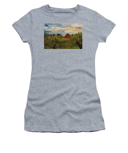 Red Barn At Pear Orchard Women's T-Shirt (Athletic Fit)