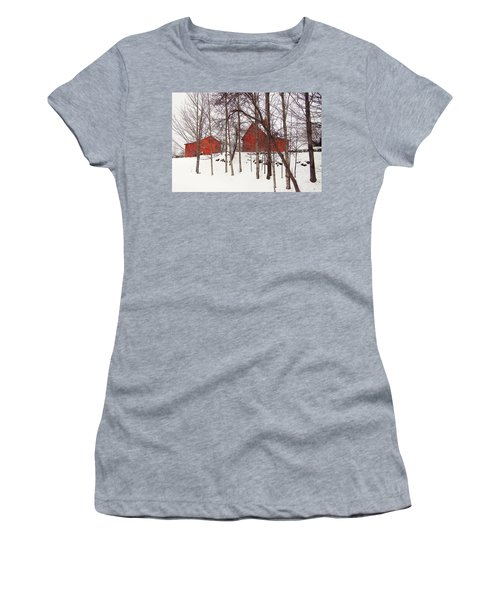 Red Barns Women's T-Shirt (Junior Cut) by Betsy Zimmerli