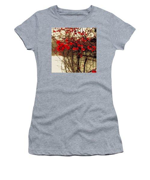 Red Berries In Winter Women's T-Shirt (Junior Cut) by Susan Lafleur