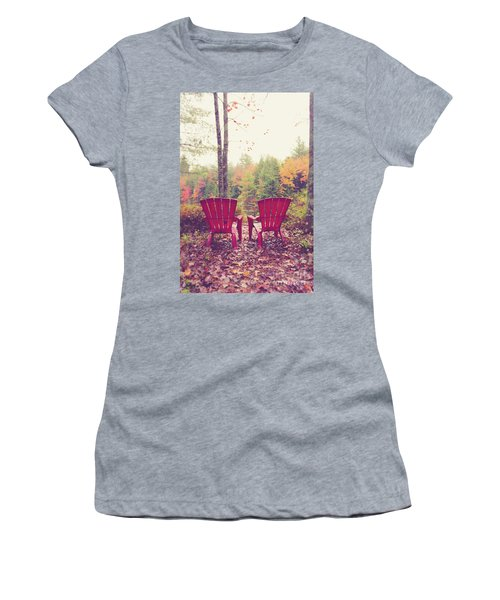Women's T-Shirt (Athletic Fit) featuring the photograph Red Chairs By The Lake by Edward Fielding