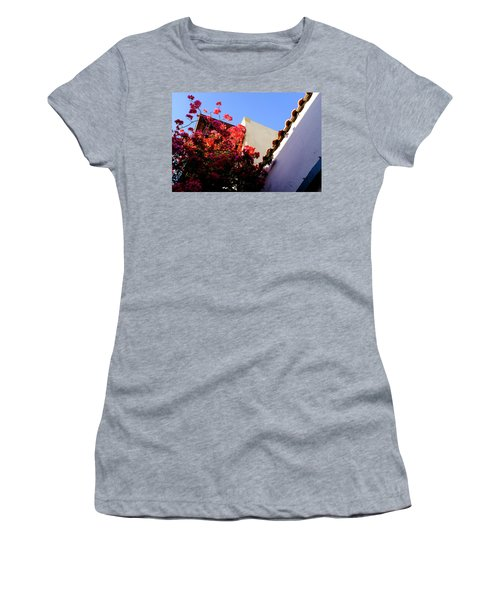 Red Flowers And Architecture In Saint Augustine Florida Women's T-Shirt
