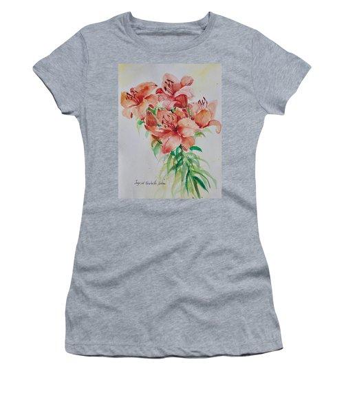 Red Lilies Women's T-Shirt (Junior Cut) by Alexandra Maria Ethlyn Cheshire