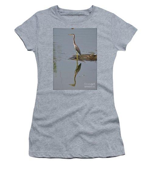Reflecting Heron Women's T-Shirt (Junior Cut) by Carol  Bradley
