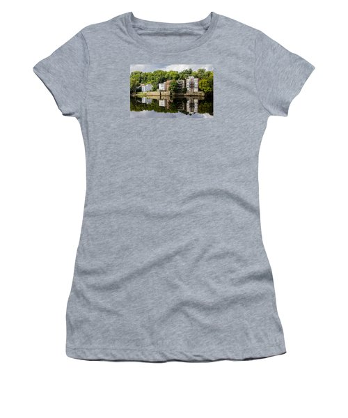 Women's T-Shirt (Junior Cut) featuring the photograph Reflections Of Haverhill On The Merrimack River by Betty Denise