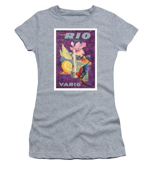 Rio Brazil  Varig Airlines Vintage 1955 Airline Travel Poster Women's T-Shirt