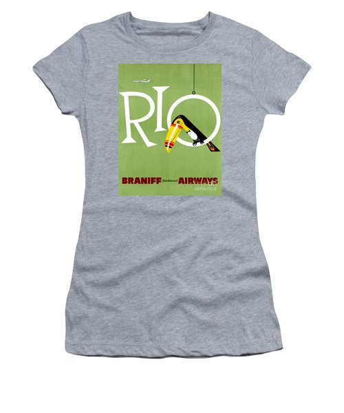 Rio Vintage Travel Poster Restored Women's T-Shirt (Athletic Fit)