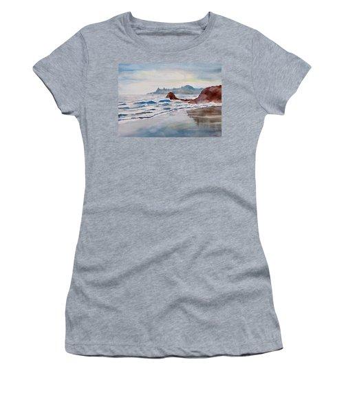 Women's T-Shirt (Junior Cut) featuring the painting Rocky Beach by Geni Gorani