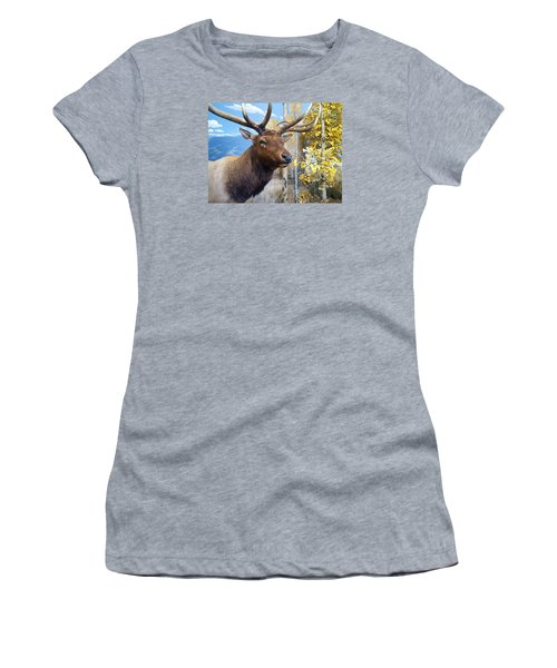 Women's T-Shirt (Junior Cut) featuring the photograph Rocky Mountain Elk by Karon Melillo DeVega