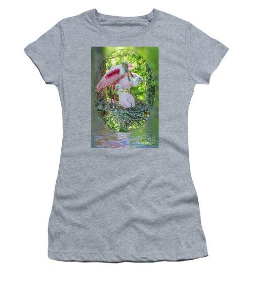 Roseate Spoonbills In Evangeline Parish Louisiana Women's T-Shirt (Athletic Fit)