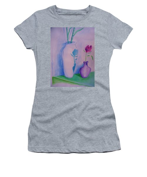 Women's T-Shirt (Junior Cut) featuring the painting Roses  In Vase by Eric  Schiabor