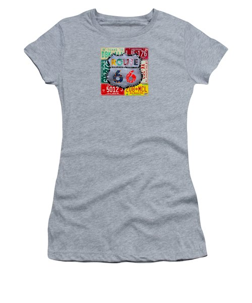 Route 66 Highway Road Sign License Plate Art Women's T-Shirt (Junior Cut) by Design Turnpike