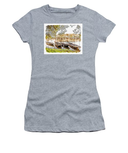 Women's T-Shirt (Athletic Fit) featuring the digital art Rowing Boats And Punts On The Loire France by Anthony Murphy