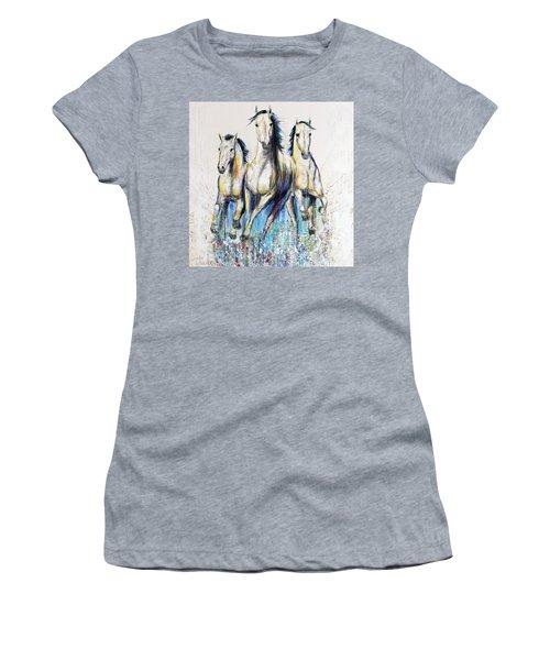 Running With The Herd Horse Painting Women's T-Shirt (Junior Cut) by Jennifer Godshalk