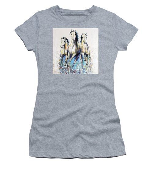 Running With The Herd Horse Painting Women's T-Shirt (Junior Cut)
