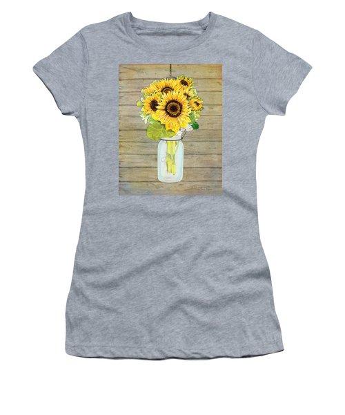 Rustic Country Sunflowers In Mason Jar Women's T-Shirt