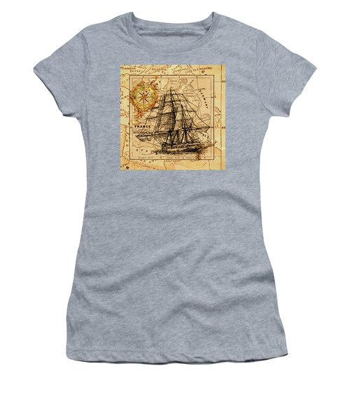 Sailing Ship Map Women's T-Shirt
