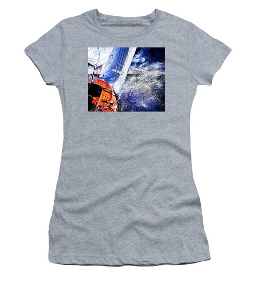 Women's T-Shirt (Athletic Fit) featuring the painting Sailing Souls by Hanne Lore Koehler