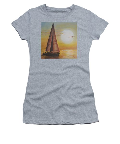 Women's T-Shirt (Junior Cut) featuring the painting Sails In The Sunset by Debbie Baker