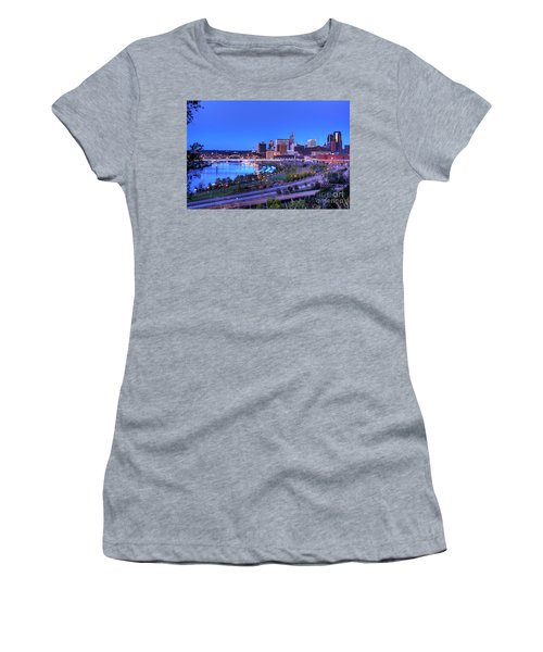 Saint Paul Minnesota Skyline Blue Morning Light Women's T-Shirt (Athletic Fit)