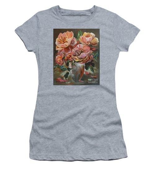 Women's T-Shirt featuring the painting Salmon Rose by Ryn Shell