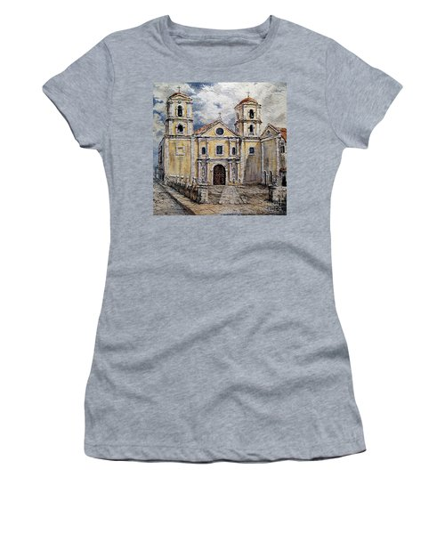 Women's T-Shirt (Junior Cut) featuring the painting San Agustin Church 1800s by Joey Agbayani