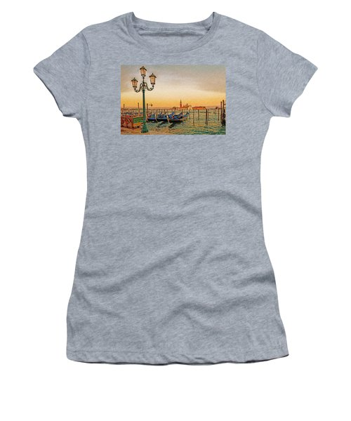 Women's T-Shirt (Athletic Fit) featuring the digital art San Giorgio Maggiore Venice Gondolas by Anthony Murphy