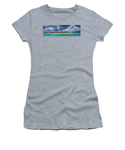 Women's T-Shirt (Junior Cut) featuring the photograph Sandy Cay Beach British Virgin Islands Panoramic by Adam Romanowicz