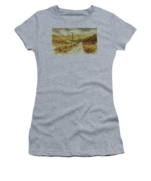 Women's T-Shirt (Athletic Fit) featuring the painting Santa Teresa County Park California Landscape 1 by Xueling Zou