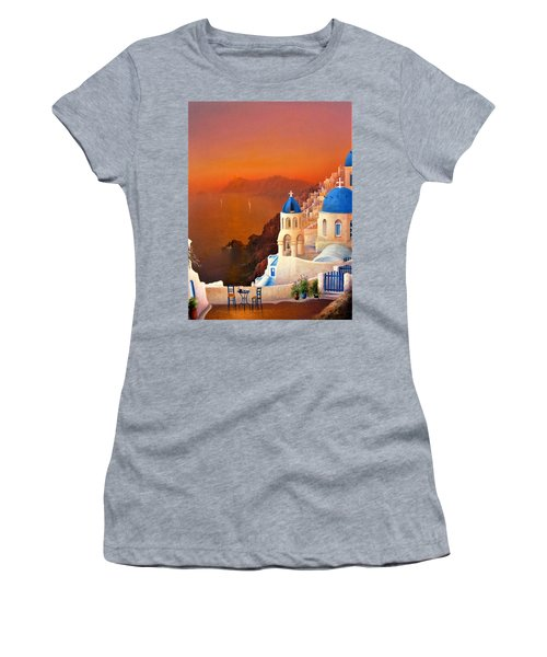 Santorini Sunset Women's T-Shirt (Athletic Fit)