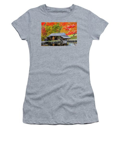 Sawmill Reflection, Autumn In New Hampshire Women's T-Shirt (Athletic Fit)