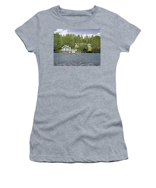 Women's T-Shirt (Junior Cut) featuring the painting Schultz Summer Home Muskoka by Kenneth M Kirsch