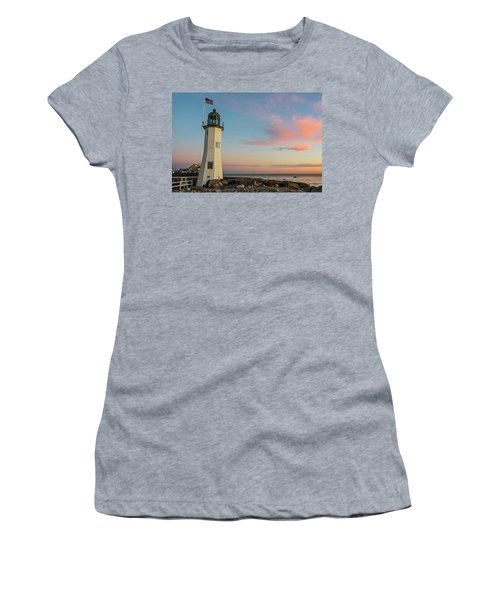 Scituate Lighthouse Scituate Massachusetts South Shore At Sunrise Women's T-Shirt
