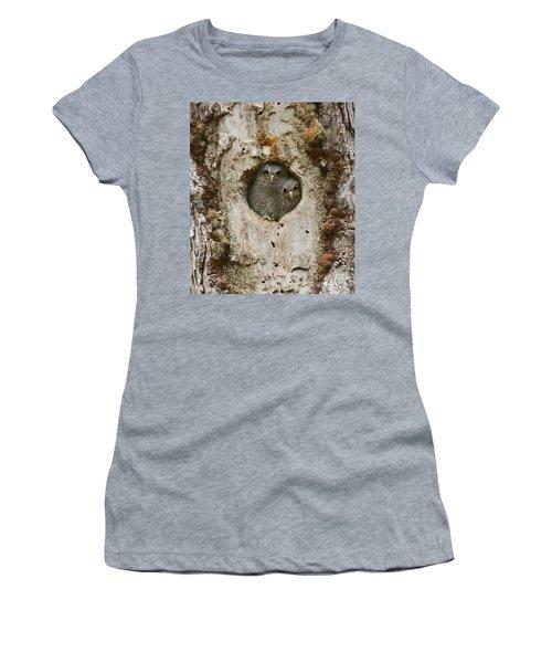 Screech Owl Babies Peeking Out Women's T-Shirt (Athletic Fit)