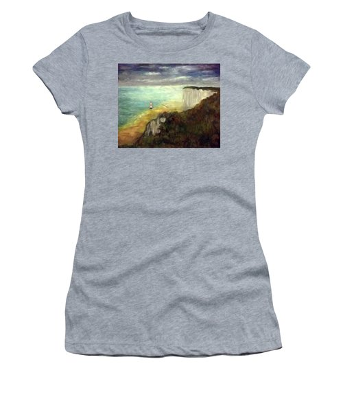 Sea, Cliffs, Beach And Lighthouse Women's T-Shirt (Athletic Fit)
