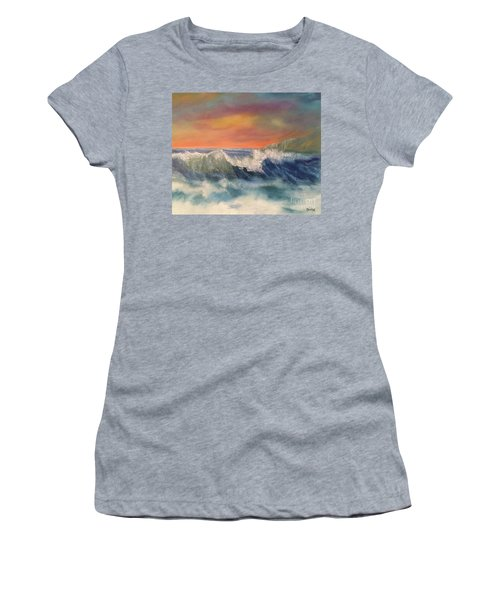 Women's T-Shirt (Athletic Fit) featuring the painting Sea Mist by Denise Tomasura