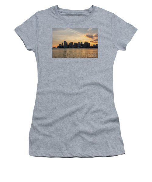 Seagull Flying At Sunset With The Skyline Of Boston On The Backg Women's T-Shirt