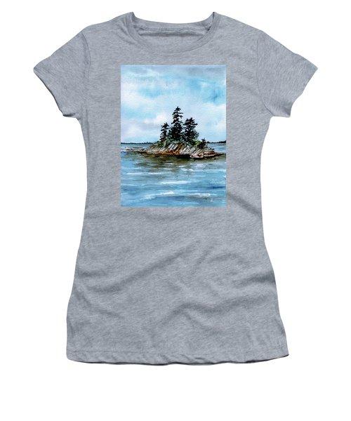 Seascape Casco Bay Maine Women's T-Shirt (Athletic Fit)