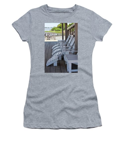 Women's T-Shirt (Junior Cut) featuring the photograph Seating By The Sea - Montauk by Art Block Collections