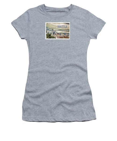 Seattle Skyline In Fog And Rain Text Seattle Women's T-Shirt (Junior Cut) by Elaine Plesser