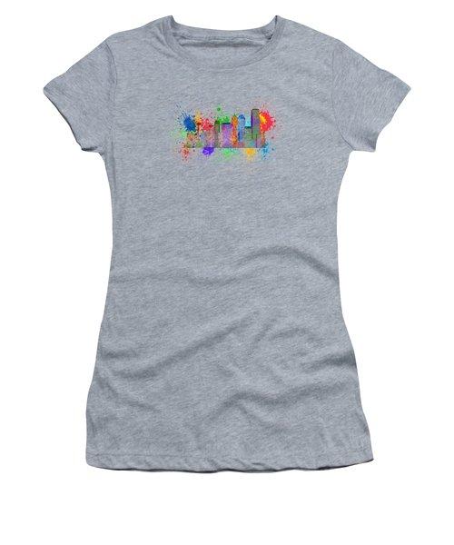 Seattle Skyline Paint Splatter Color Illustration Women's T-Shirt