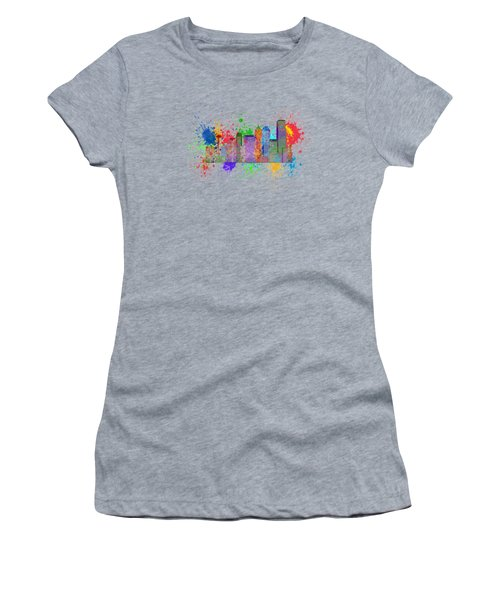 Seattle Skyline Paint Splatter Color Illustration Women's T-Shirt (Athletic Fit)
