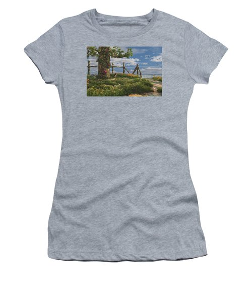 Women's T-Shirt (Athletic Fit) featuring the digital art Seaview Retreat by Mary Almond
