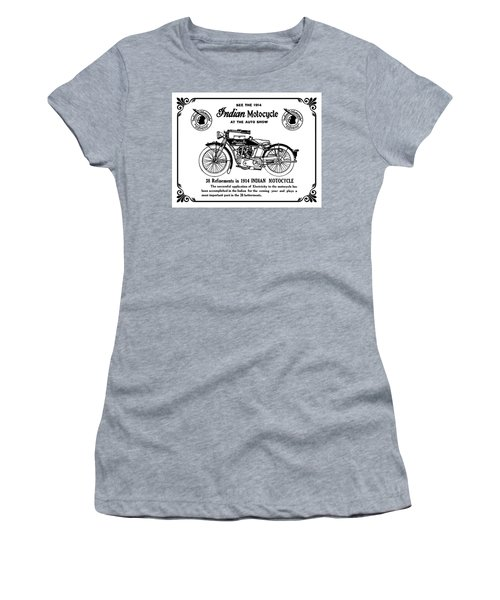 Women's T-Shirt (Junior Cut) featuring the mixed media See New 1914 Indian Motocycle At The Auto Show by Daniel Hagerman